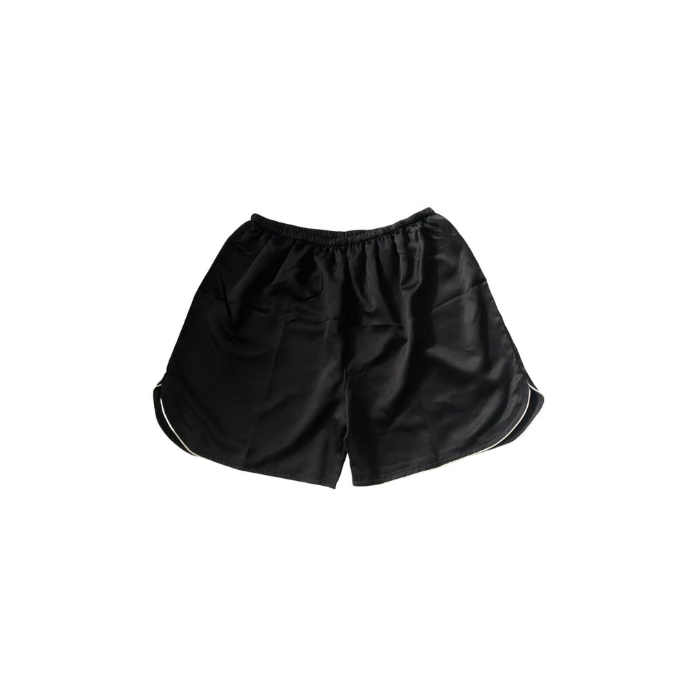 Stay in Satin - Mens Satin Curve Hem Shorts (Black)