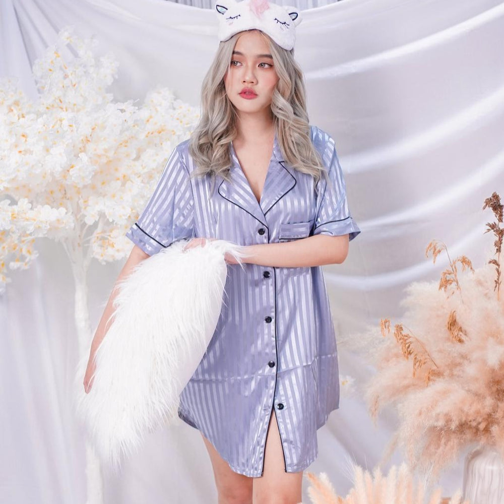 Stay in Satin - Stripes Satin Button Down Dress in Dusty Blue