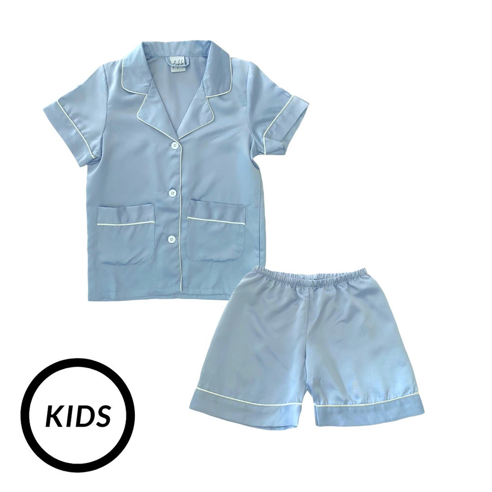 Stay in Satin (Kids) Short Sleeves Set in Dusty Blue