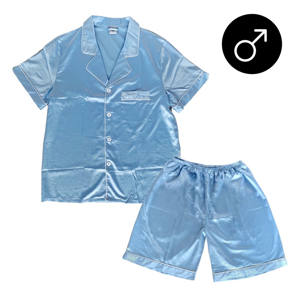 Stay in Satin - Men Short Sleeves Set in Sky Blue