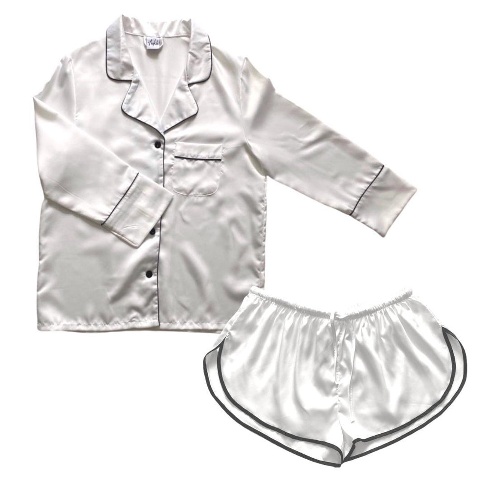 Stay in Satin - Long Sleeves & Shorts in White