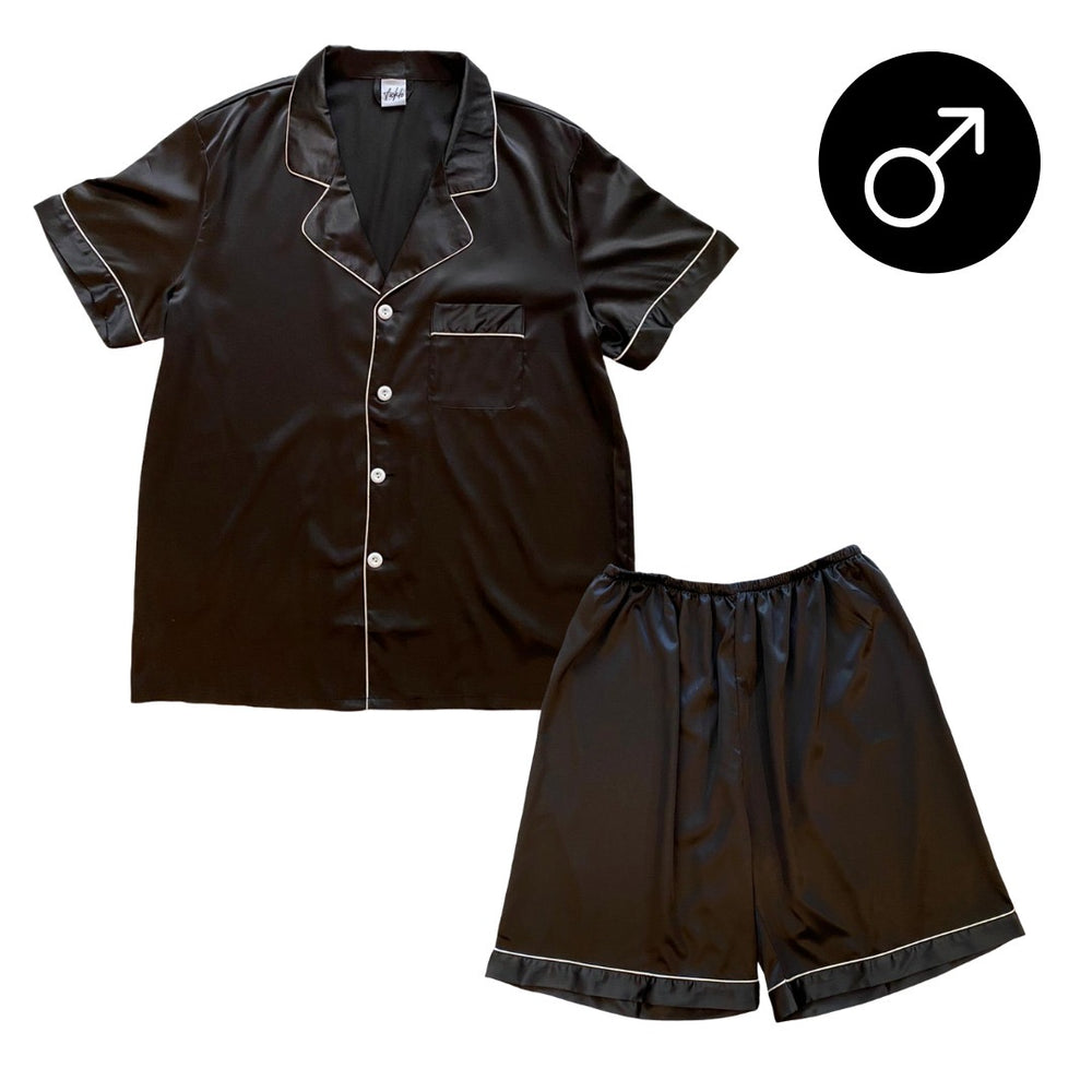 Stay in Satin - Men Short Sleeves Set in Black