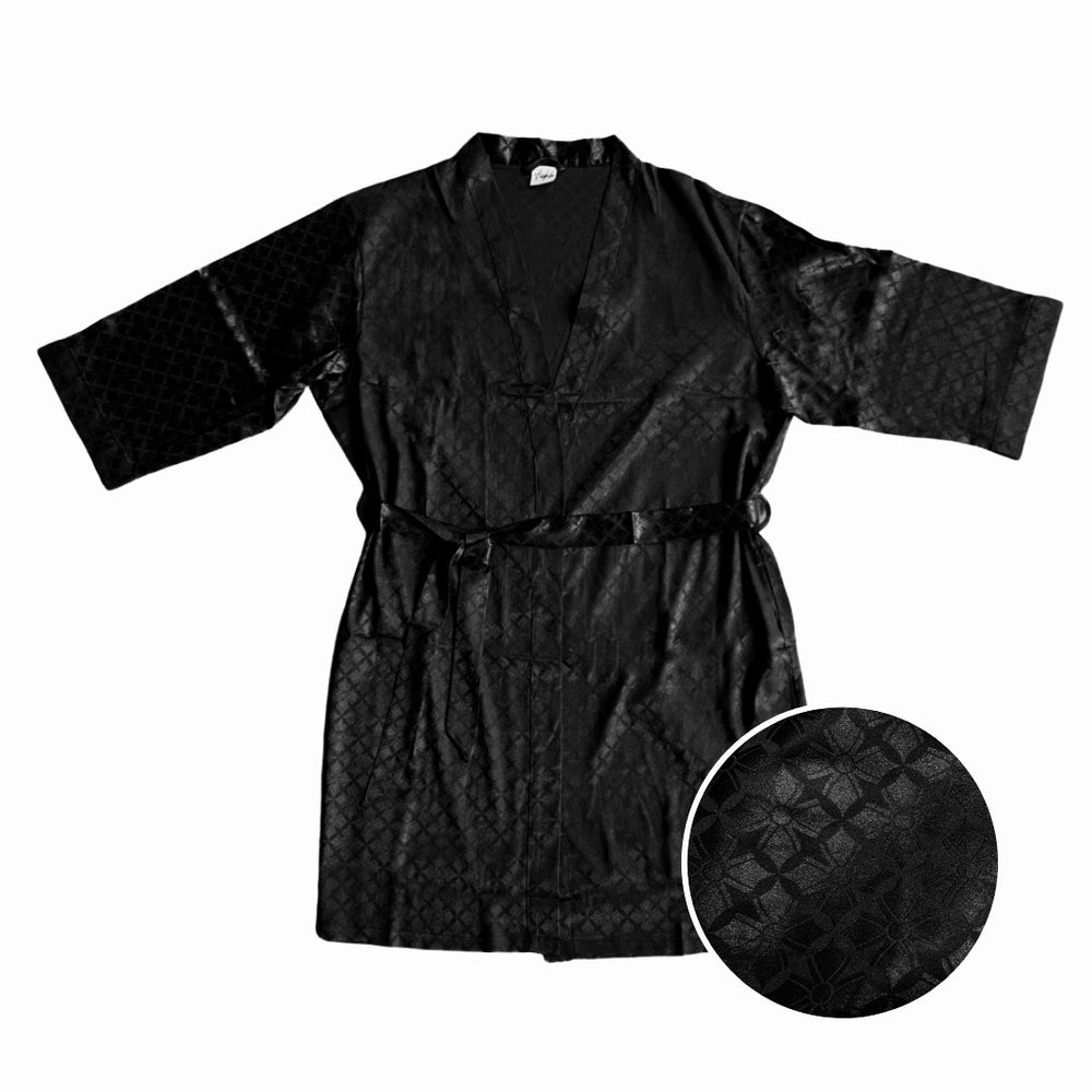 Baroque Satin Robe in Black