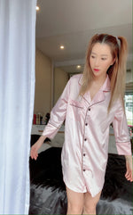 Stay in Satin - Button Down Shirt in Baby Pink