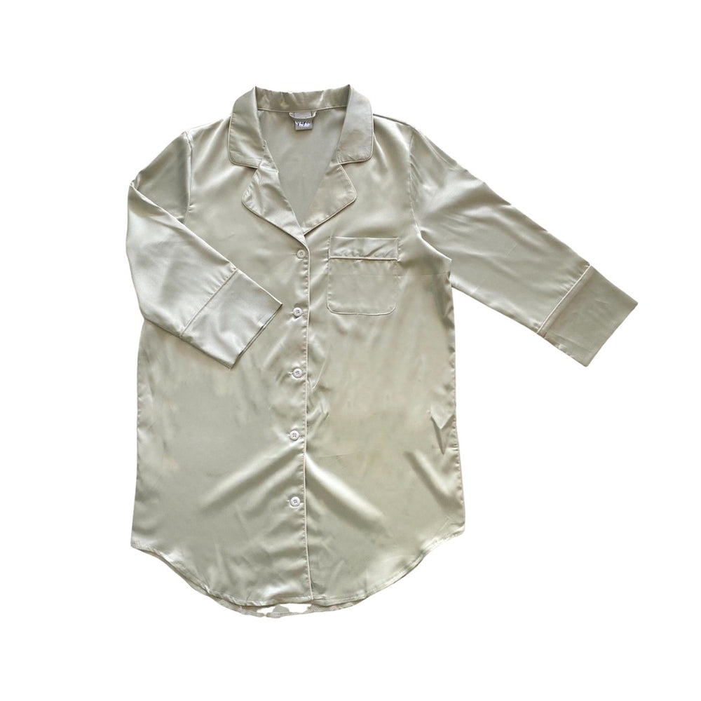 Stay in Satin - Button Down Shirt in Sage Green