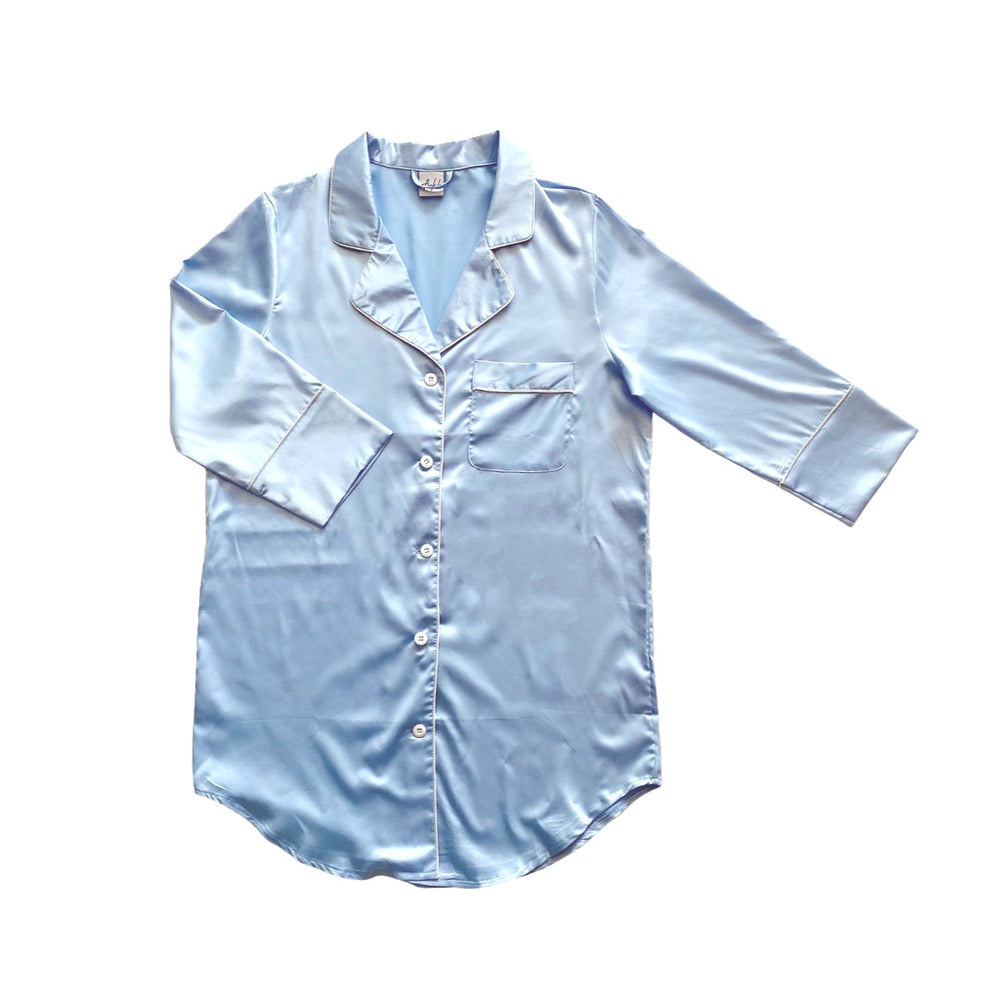 Stay in Satin - Button Down Shirt in Sky Blue