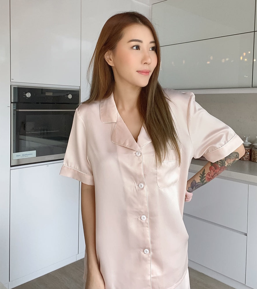 Stay in Satin - Short Sleeves Set in Nude Pink