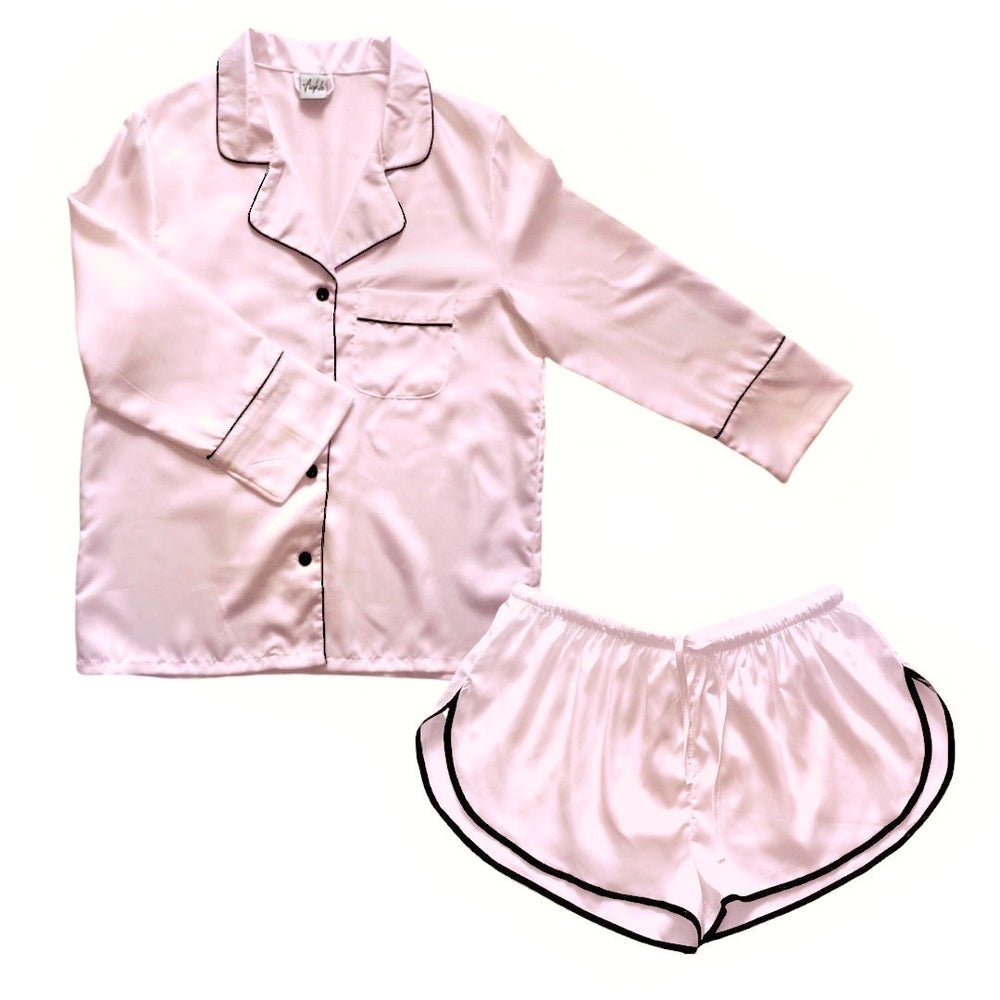 Stay in Satin - Long Sleeves & Shorts Set in Pale Blush