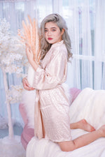 Baroque Satin Robe in Champagne