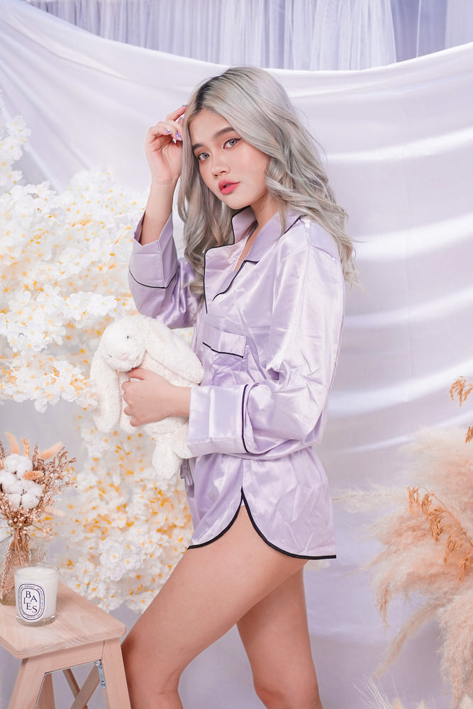 Satin Long Sleeve + Shorts in Light Grey