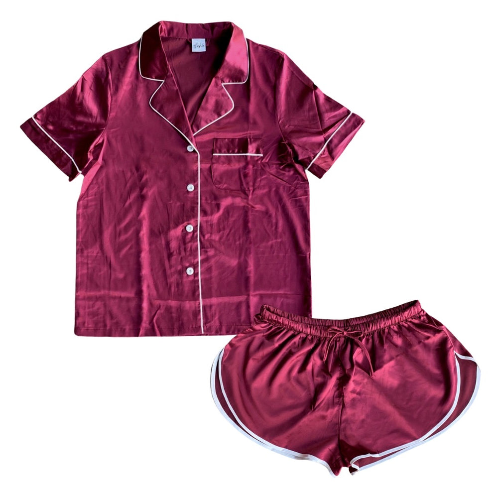 Stay in Satin - Short Sleeves & Shorts in Burgundy
