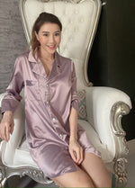 Stay in Satin - Button Down Shirt in Mauve