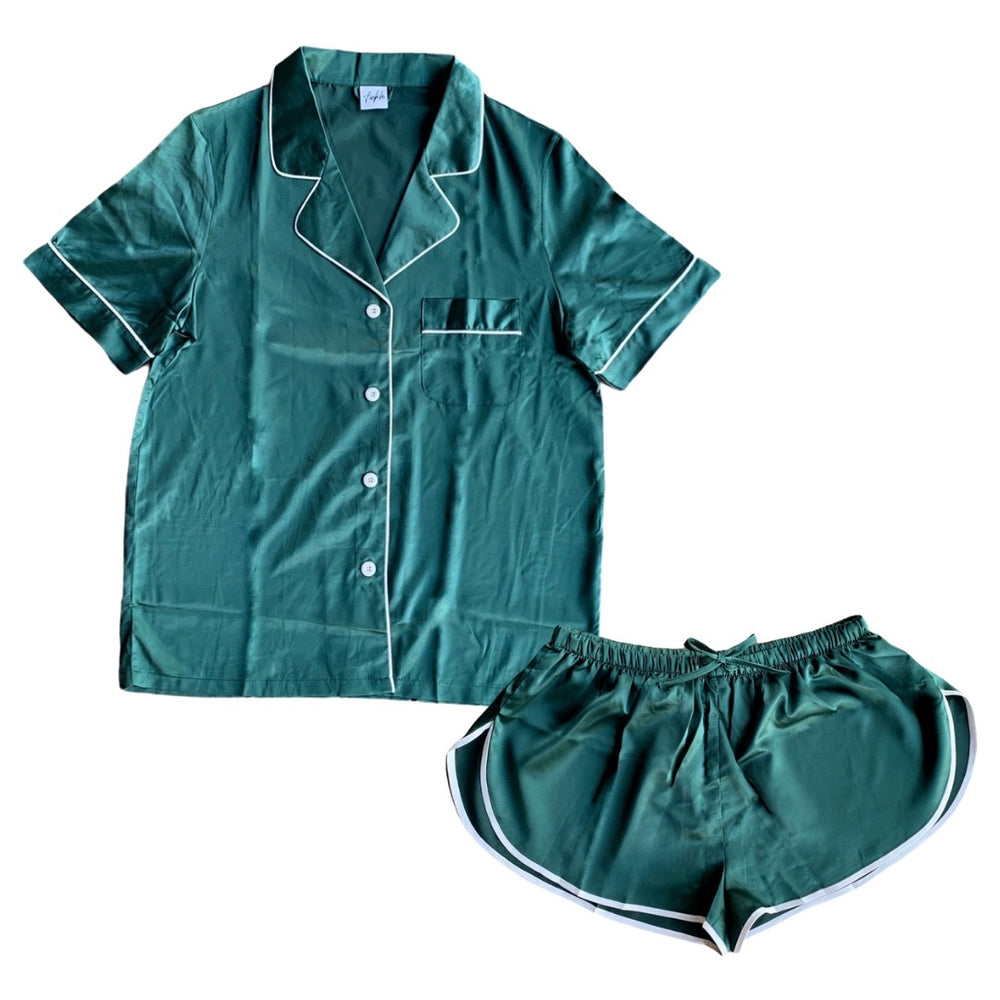 Stay in Satin - Short Sleeves & Shorts in Forest Green