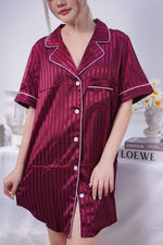 Stay in Satin - Stripes Satin Button Down Dress in Maroon