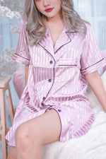 Stay in Satin - Stripes Satin Button Down Dress in Pink