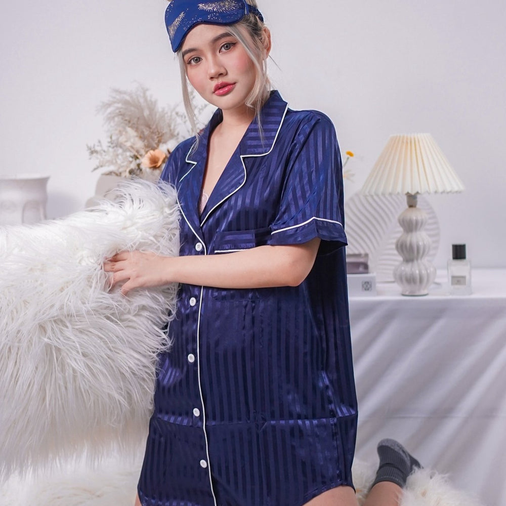 Stay in Satin - Stripes Satin Button Down Dress in Navy
