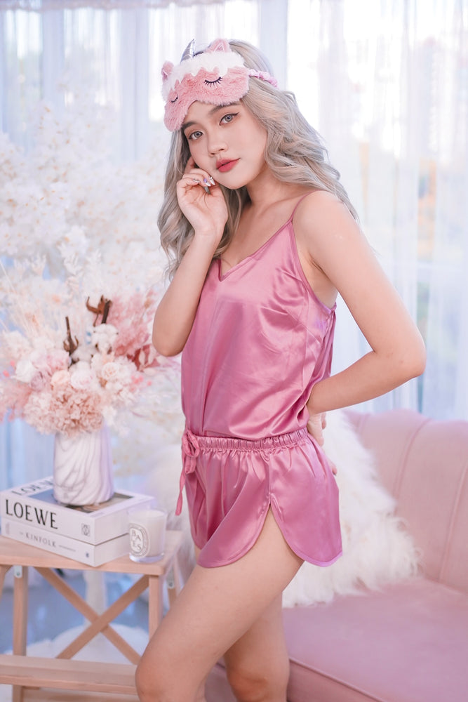 Stay in Satin - Camisole Set in Rose Pink