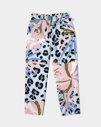 Jungle FLowers Belted Tapered Pants - Londons Alley