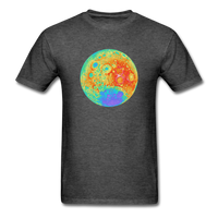 Moon Topographic Map Space Themed T-Shirt - Men's - heather black