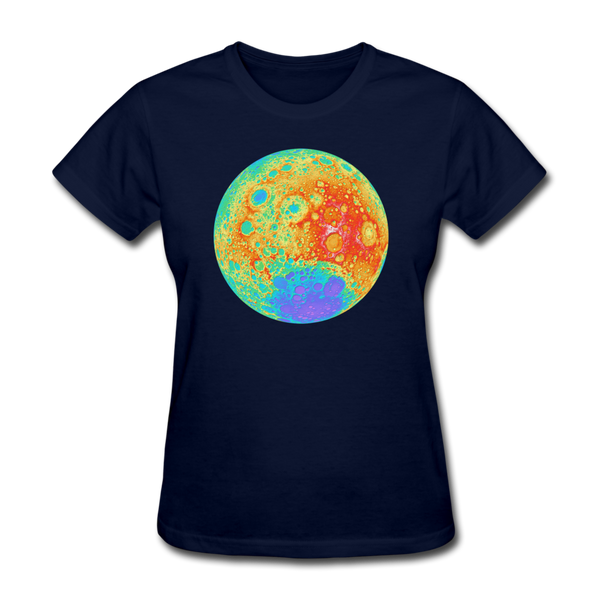 Moon Topographic Map Space Themed T-Shirt -Women's - navy