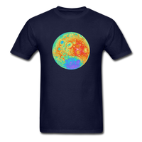 Moon Topographic Map Space Themed T-Shirt - Men's - navy