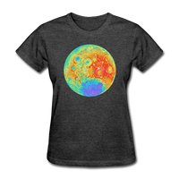 Moon Topographic Map Space Themed T-Shirt -Women's - heather black
