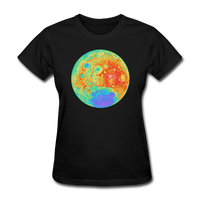 Moon Topographic Map Space Themed T-Shirt -Women's - black