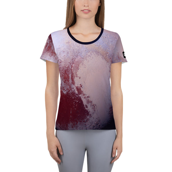 Pluto Surface on Space Themed Tshirt - Women's