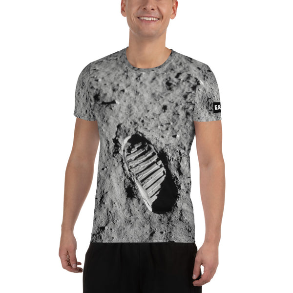 Lunar Footprint on Space Themed Tshirt - Men's