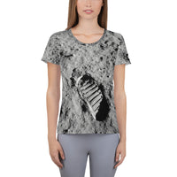 Lunar Footprint on Space Themed Tshirt - Women's