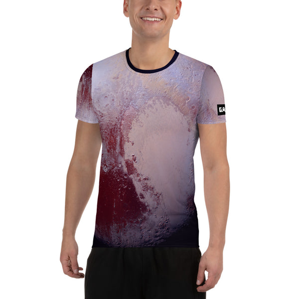 Pluto Surface on Space Themed Tshirt - Men's