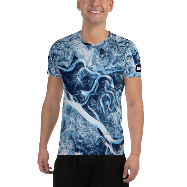 Frozen Dniper River from ISS on Space Themed Tshirt - Men's