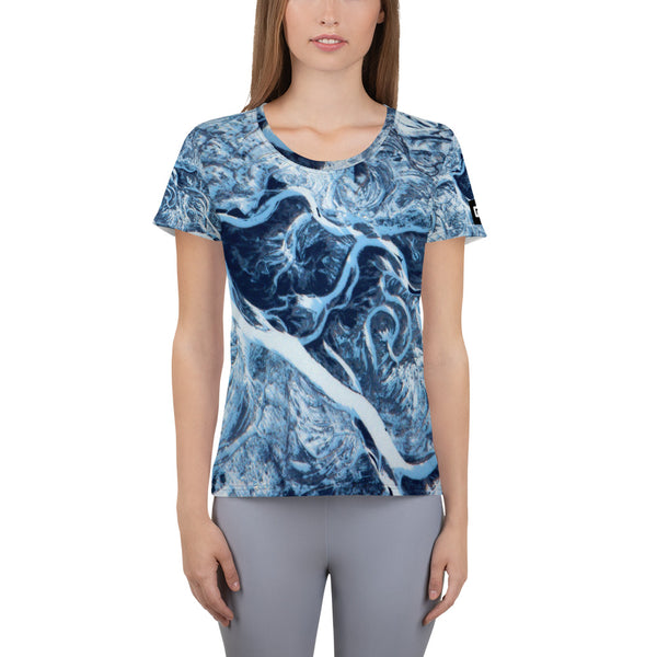 Frozen Dniper River from ISS on Space Themed Tshirt - Women's