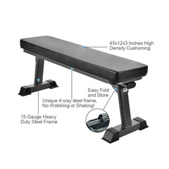 Gym Quality Foldable Flat Bench for Multi-Purpose Weight Training and Ab Exercises - Finer Form