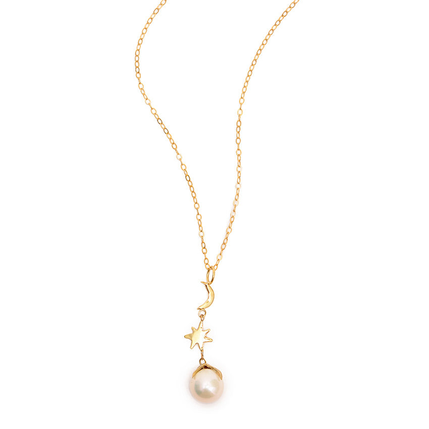 Pearl, Moon & Star Necklace