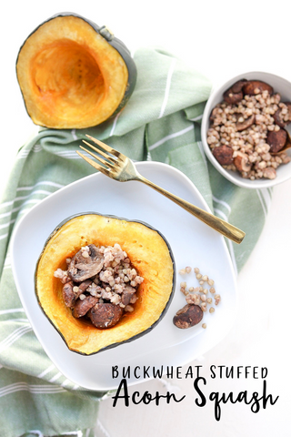 Buckwheat stuffed acorn squash