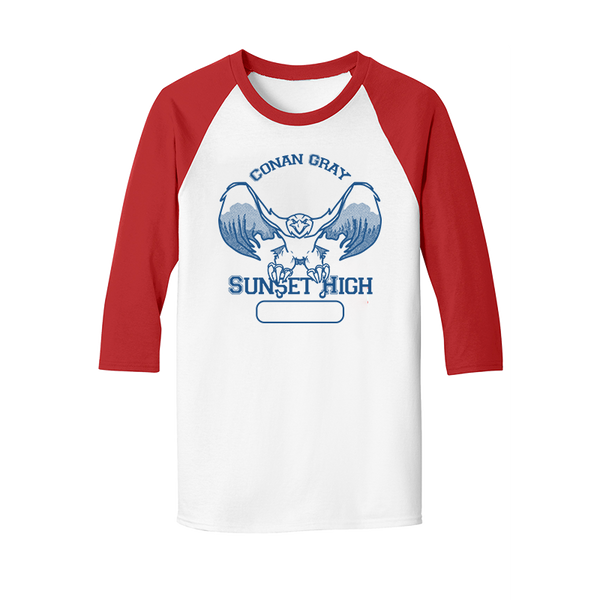 SUNSET HIGH WHITE AND RED BASEBALL TEE