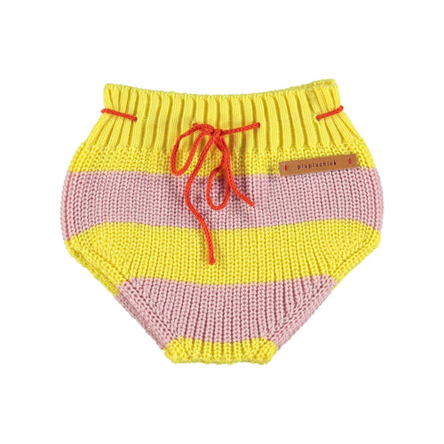Knitted Baby Bloomer Pink & yellow Stripes Piupiuchick COTON BIO