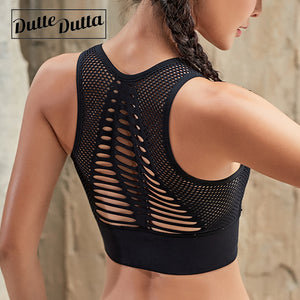 Duttedutta Sexy Hollow Out High Impact Sports Bra Mesh Back Workout Gym Fitness Running Brassiere - Evoke Direct