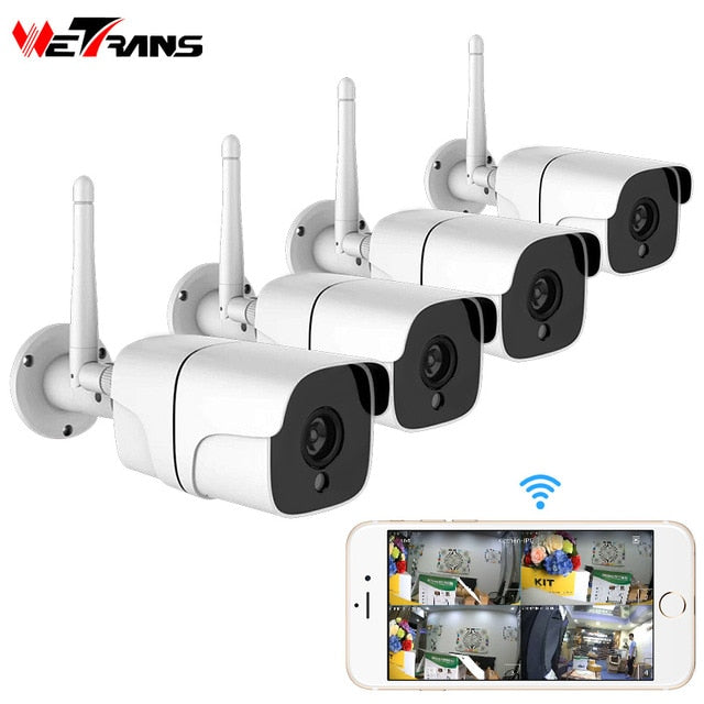 Wetrans Wireless Security Camera System 1080P IP Camera Wifi SD Card Outdoor 4CH Audio CCTV System Video Surveillance Kit Camara - Evoke Direct