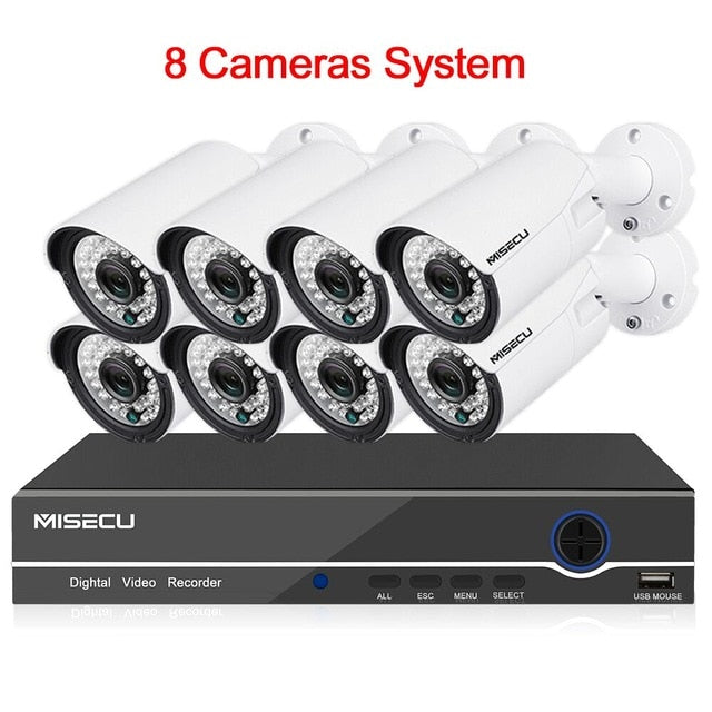 MISECU 8CH 1080P CCTV Camera System Audio Record 2MP Bullet PoE IP  Waterproof Camera - Evoke Direct