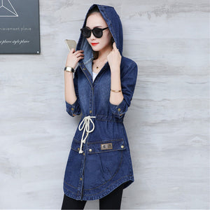 Harajuku Autumn Denim Trench Coat - Evoke Direct