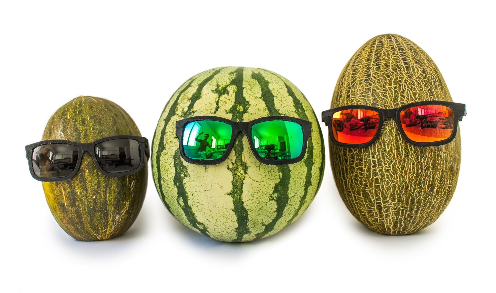 Melons with 3D printed sunglasses on