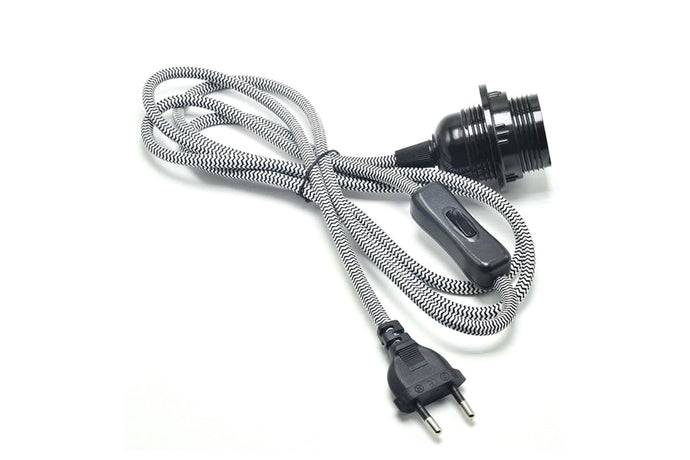 Light Socket with Braided Nylon Cord (E27, EU Plug)