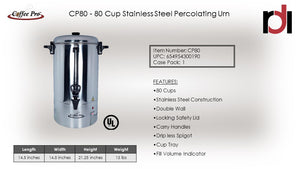 Office & Event 80-Cup Single Wall Percolating Urn