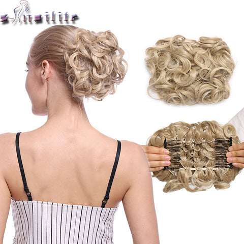 LARGE Comb Clip In Curly Synthetic Hair Pieces Chignon