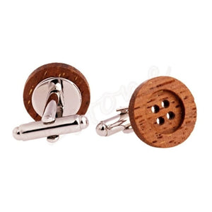 MEN'S STAINLESS STEEL INLAY WOODEN BUTTON CUFFLINK