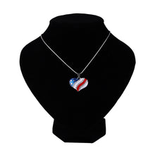 PATRIOTIC CHIC HEART & STAR US FLAG PENDANT NECKLACE