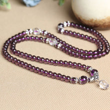 ELEGANT PURPLE GLASS MALA BEADS MEDITATION BRACELET