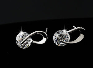 ELEGANT AUSTRIAN GEM SILVER STUD EARRINGS